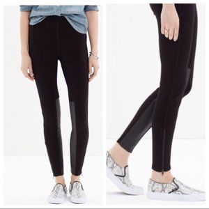 Madewell Faux Leather Panel Ponte Pants Black 0
